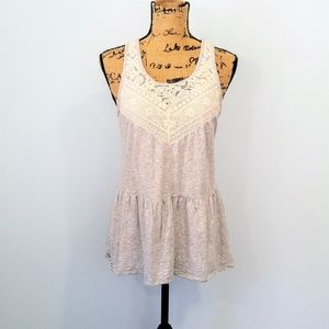 Express Gray and Lace Boho Style High Low Tank M